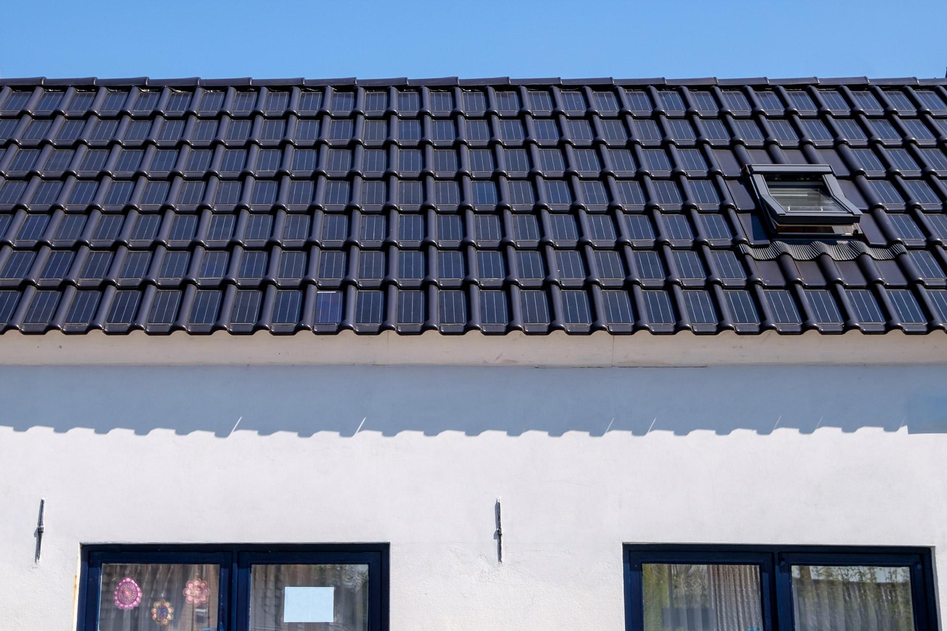 Solar tiles on eco-home